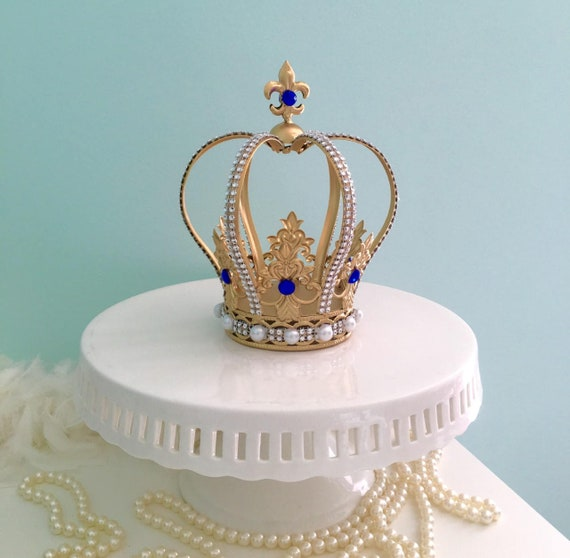 gorgeous gold crown cake topper with royal blue crystals for etsy