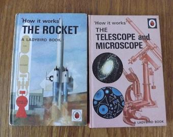 Ladybird How it Works hardback books The Rocket, The Telescope and Microscope