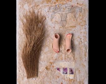 Encaustic Painting - Encaustic Art - Assemblage Art - Mixed Media - Collage