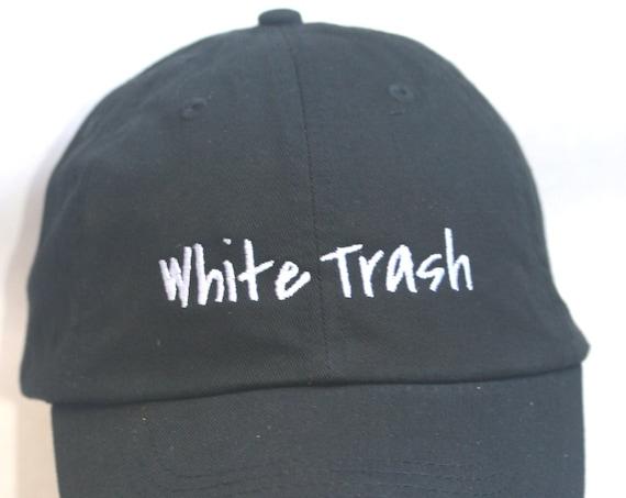 White Trash - Polo Style Ball Cap (Black with White Stitching)