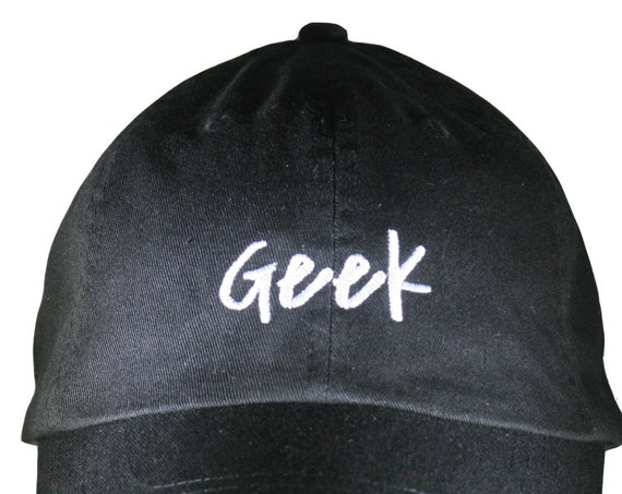 Geek - Polo Style Ball Cap (Black with White Stitching)