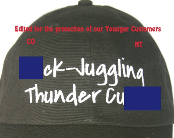 ADULTS ONLY - ##ck Juggling Thunder Cu## - Polo Style Ball Cap (Black with White Stitching)