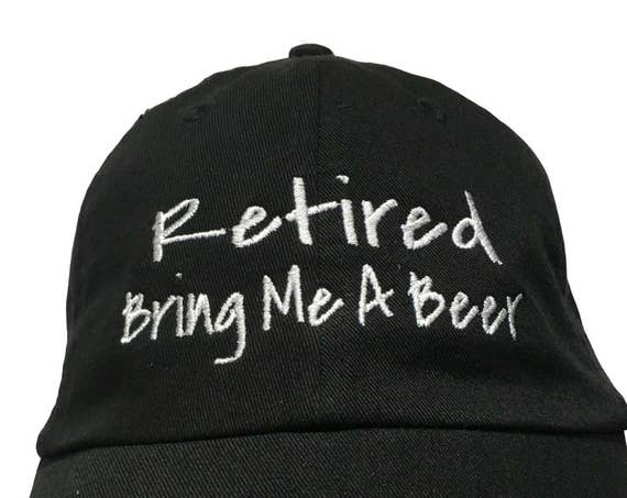 Retired Bring Me a Beer (Polo Style Ball Black with White Stitching)