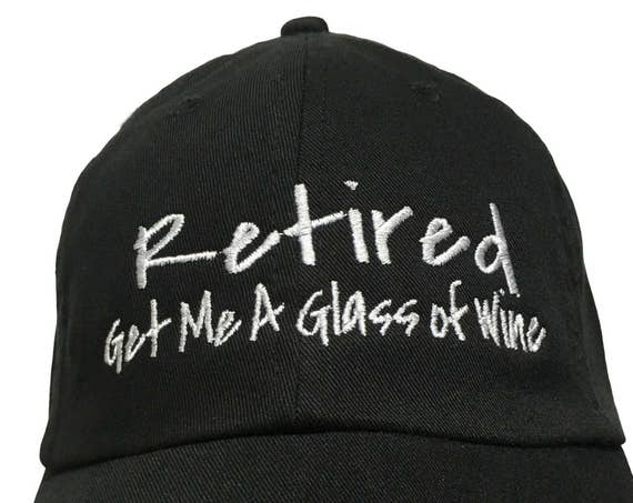 Retired Get Me A Glass of Wine (Polo Style Ball Black with White Stitching)