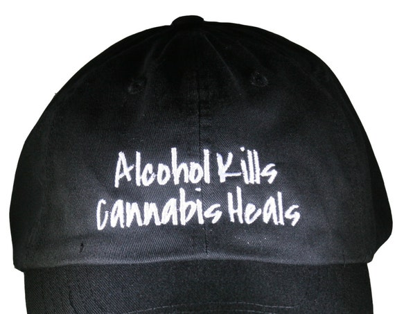 Alcohol Kills Cannibis Heals (Polo Style Ball Black with White Stitching)