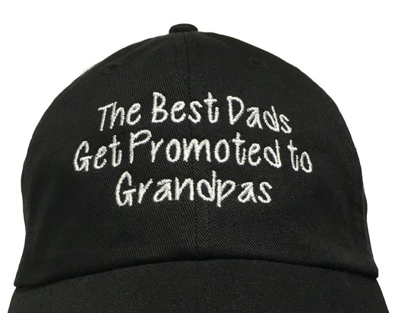 The Best Dads Get Promoted to Grandpas - Polo Style Ball Cap (Black with White Stitching)