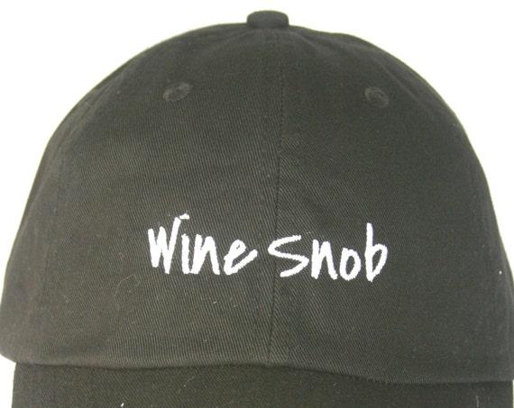 Wine Snob - Polo Style Ball Cap (Black with White Stitching)