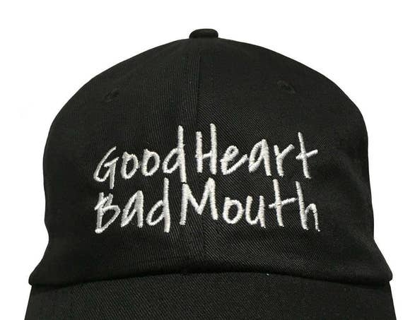 Good Heart Bad Mouth - Polo Style Ball Cap (Black with White Stitching)