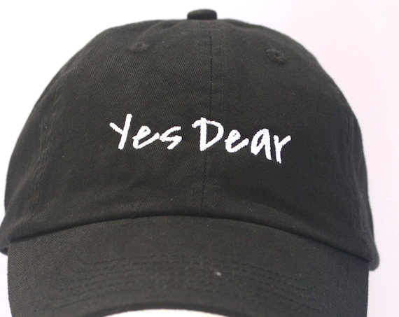 Yes Dear - Ball Cap (Black with White Stitching)