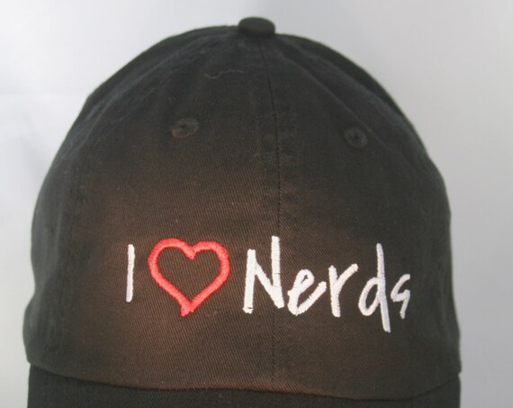 I Love Nerds - Polo Style Ball Cap (Black with White Stitching)