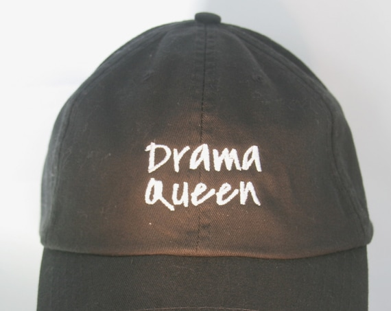 Drama Queen - Polo Style Ball Cap (Black with White Stitching)