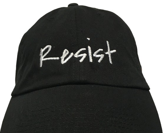 Resist - Polo Style Ball Cap (Black with White Stitching)