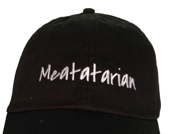 Meatatarian - Polo Style Ball Cap (Black with White Stitching)