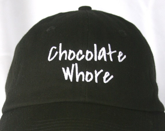 Chocolate Whore - Polo Style Ball Cap (Black with White Stitching)