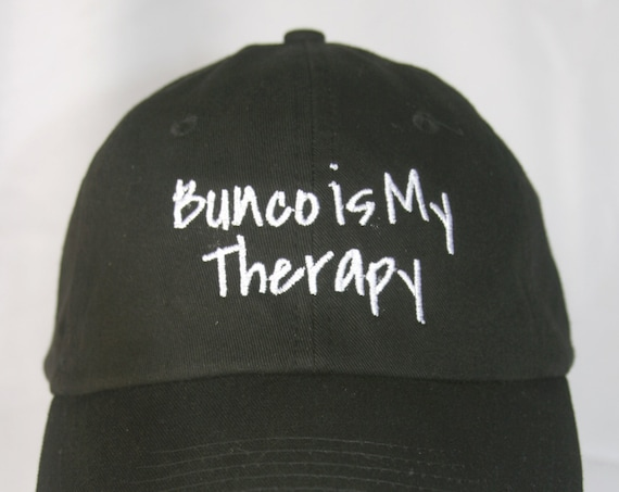 Bunco is My Therapy - Polo Style Ball Cap (Black with White Stitching)