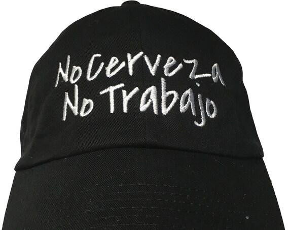No Cerveza No Trabajo - Polo Style Ball Cap (Black with White Stitching)