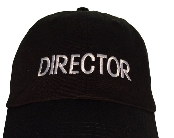 DIRECTOR - Polo Style Ball Cap (Black with White Stitching)