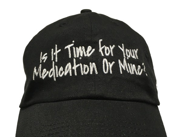 Is it time for your medication or mine? (Polo Style Ball Black with White Stitching)