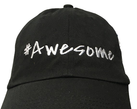 Hashtag Awesome - Polo Style Ball Cap (Black with White Stitching)