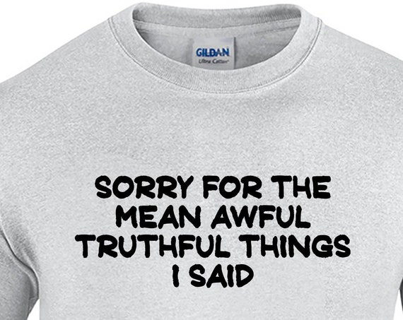 Sorry For The Mean Awful Truthful Things I Said  (Mens T-Shirt)