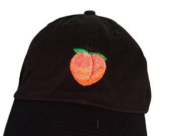 734d6b6e0aca4 Emoji Peach - Polo Style Ball Cap (Black)