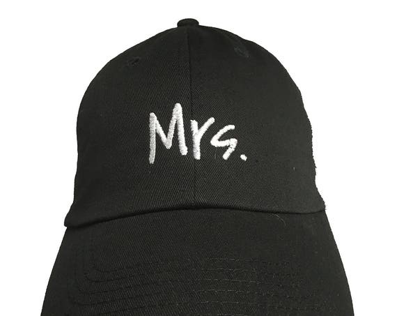Mrs. -  New Style - Ball Cap (Black with White Stitching)