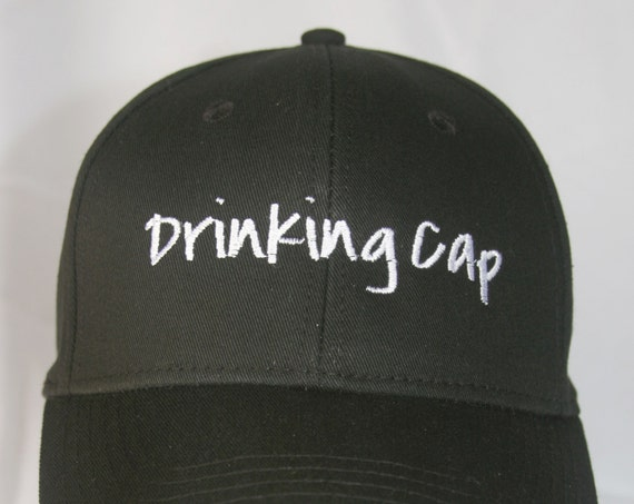 Drinking Cap - Polo Style Ball Cap (Black with White Stitching)