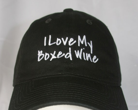 I Love my Boxed Wine - Polo Style Ball Cap (Black with White Stitching)