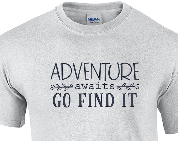 Adventure Awaits Go Find It - Mens T-Shirt (Ash Gray or White)