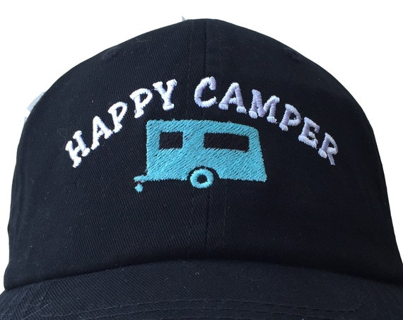 Happy Camper (Polo Style Ball Cap - Black with White Stitching