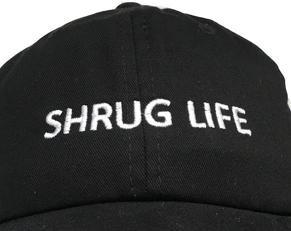 Shrug Life - Polo Style Ball Cap (Black with White Stitching)