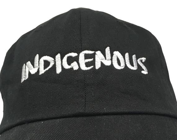 Indigenous (Ball Cap - Black Embroidered with White Stitching)