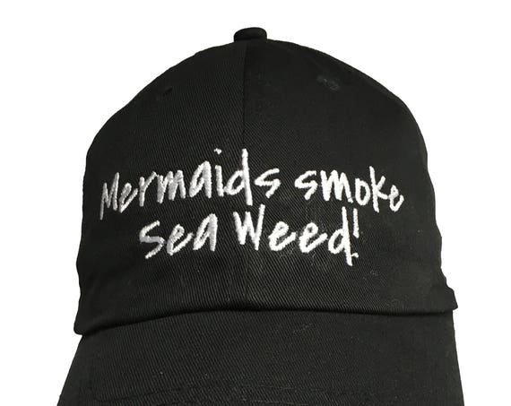 Mermaids Smoke Sea Weed! (Polo Style Ball Black with White Stitching)