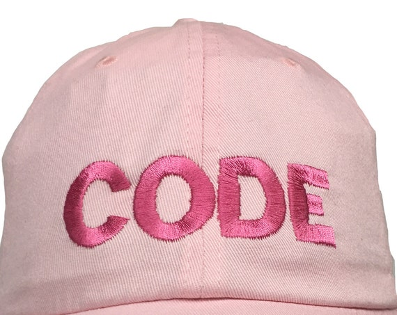 CODE (Ball Cap - Pink Embroidered with Hot Pink Stitching)