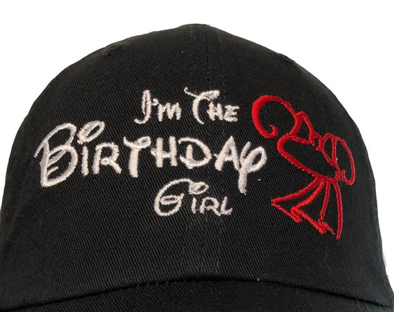 I'm The Birthday Girl - With Minnie Hat (Polo Style Ball Black with White and Red Stitching)
