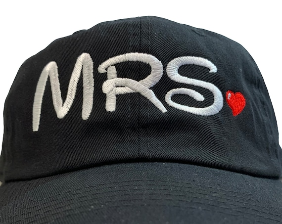 Mrs. for the Bride -Disney Font- Ball Cap (Black with White and Red Stitching) Two styles of ball caps
