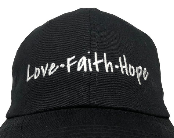 Love Faith Hope - Polo Style Ball Cap (Black with White Stitching)