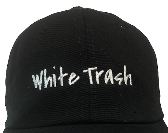 White Trash - Polo Style Ball Cap (Black with White Stitching)