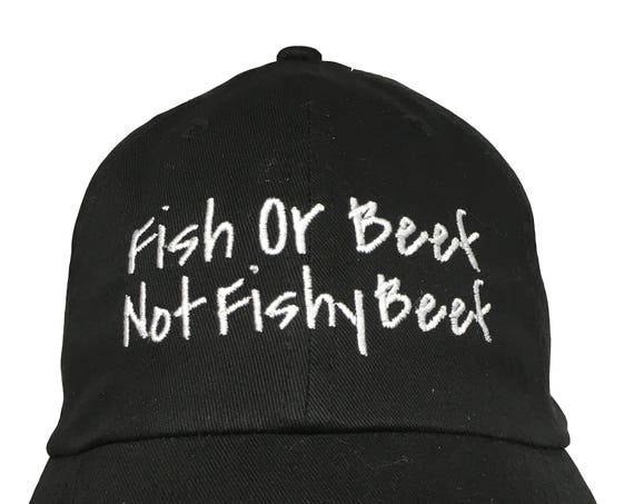 Fish or Beef, Not Fishy Beef - Polo Style Ball Cap (Black with White Stitching)