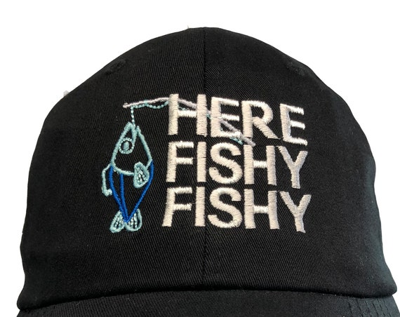 Here Fishy Fishy with fish and pole - Polo Style Ball Cap (Black or Khaki)