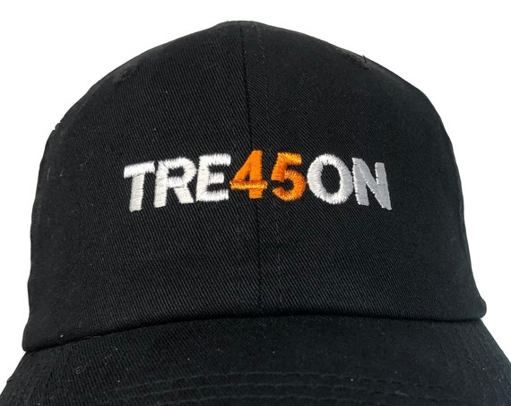 TRE45ON -  Ball Cap (Black with White and Orange Stitching)