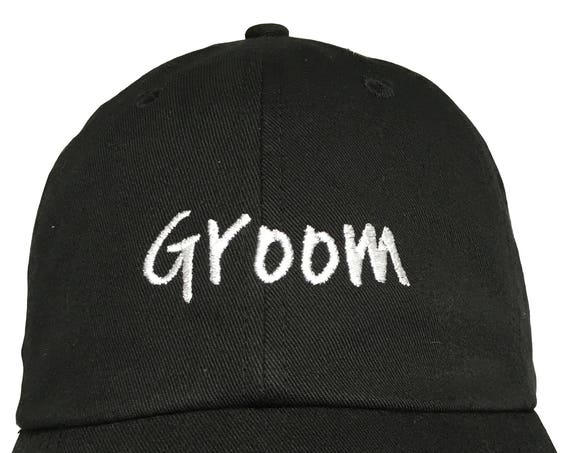 Groom New Style - Ball Cap (Black with White Stitching)