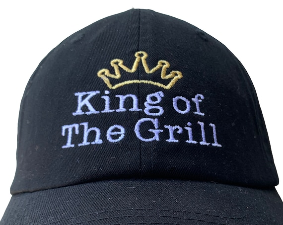 King of the Grill - with Crown - Polo Style Ball Cap (Various Colors with White and Gold Stitching)