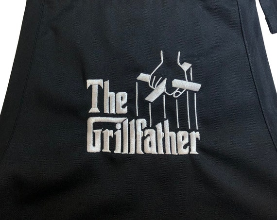The Grillfather Edited for Natalie  (Adult Apron) Black with Stitching (Edited Design as per conversations)