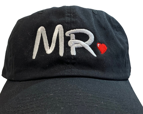 Mr. for the Bride -Disney Font- Ball Cap (Black with White and Red Stitching) Two styles of ball caps