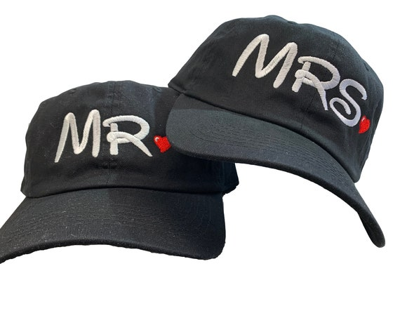 Set of Ball Caps Mr and Mrs. - with Disney Font Writing Ball Cap