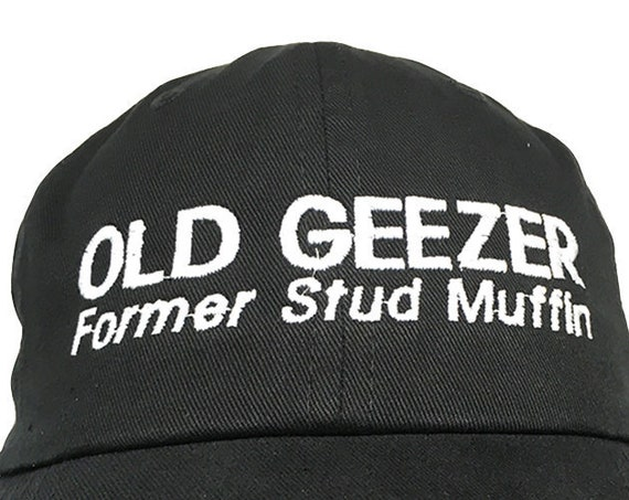 Old Geezer, Former Stud Muffin - Polo Style Ball Cap (Black with White Stitching)