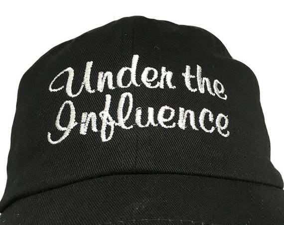 Under the Influence - Polo Style Ball Cap (Black with White Stitching)