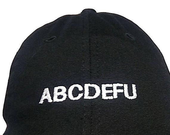 ABCDEFU (Youth Dad Cap Polo Style Ball Cap - Black with White Stitching