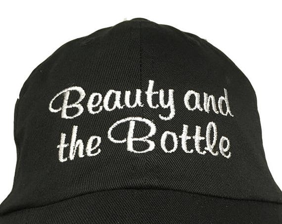 Beauty and the Bottle - Polo Style Ball Cap (Black with White Stitching)